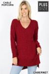 Front image of Cabernet Cable Knit Popcorn V-Neck Hi-Low Plus Size Sweater