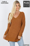Front image of Copper Cable Knit Popcorn V-Neck Hi-Low Plus Size Sweater