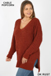 Front image of Dark Rust Cable Knit Popcorn V-Neck Hi-Low Plus Size Sweater