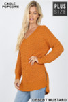 45 degree image of Desert Mustard Cable Knit Popcorn V-Neck Hi-Low Plus Size Sweater