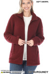 Front Unzipped image of Dark Burgundy Sherpa Zip Up Jacket with Side Pockets