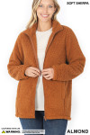 Front Unzipped image of Almond Sherpa Zip Up Jacket with Side Pockets