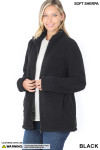 45 degree Unzipped image of Black Sherpa Zip Up Jacket with Side Pockets