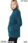 Left side image of teal Sherpa Zip Up Jacket with Side Pockets