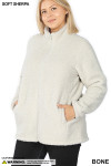 Front image of Bone Sherpa Zip Up Plus Size Jacket with Side Pockets