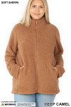 Front image of Deep Camel Sherpa Zip Up Plus Size Jacket with Side Pockets