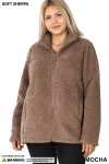 Front image of Mocha Sherpa Zip Up Plus Size Jacket with Side Pockets