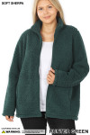 Front unzipped image of Hunter Sherpa Zip Up Plus Size Jacket with Side Pockets