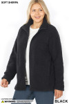 Front unzipped image of Black Sherpa Zip Up Plus Size Jacket with Side Pockets