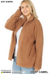 45 degree unzipped image of Deep Camel Sherpa Zip Up Plus Size Jacket with Side Pockets