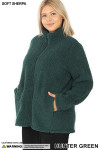 45 degree image of Hunter Sherpa Zip Up Plus Size Jacket with Side Pockets