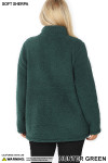 Back side image of Hunter Sherpa Zip Up Plus Size Jacket with Side Pockets