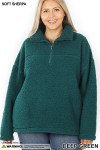 Front of Deep Green Sherpa Half Zip Plus Size Pullover with Side Pockets