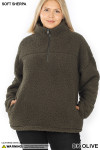 Front of Dark Olive Sherpa Half Zip Plus Size Pullover with Side Pockets