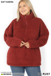 Front of Dark Rust Sherpa Half Zip Plus Size Pullover with Side Pockets