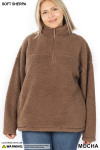 Front of Mocha Sherpa Half Zip Plus Size Pullover with Side Pockets