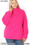 Front of Hot Pink Sherpa Half Zip Plus Size Pullover with Side Pockets