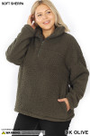 45 degree image of Dark Olive Sherpa Half Zip Plus Size Pullover with Side Pockets