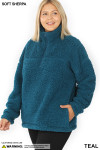 Front of Teal Sherpa Half Zip Plus Size Pullover with Side Pockets