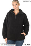 Front image of Black Sherpa Half Zip Pullover with Side Pockets