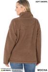 Back side image of Mocha Sherpa Half Zip Pullover with Side Pockets