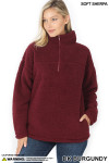 Front image of Dark Burgundy Sherpa Half Zip Pullover with Side Pockets