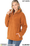 45 degree image of Almond Sherpa Half Zip Pullover with Side Pockets