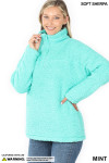 Slightly turned image of Mint Sherpa Half Zip Pullover with Side Pockets