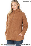 Slightly turned image of Deep Camel Sherpa Half Zip Pullover with Side Pockets