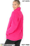 Left side image of Hot Pink Sherpa Half Zip Pullover with Side Pockets