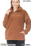 Front image of Dark Camel Sherpa Half Zip Pullover with Side Pockets showing the collar unzipped