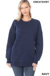 Front image of Navy Round Crew Neck Sweatshirt with Side Pockets