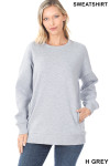 Front image of Heather Grey Round Crew Neck Sweatshirt with Side Pockets