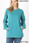 Front image of Dusty Teal Round Crew Neck Sweatshirt with Side Pockets