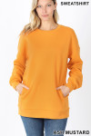Front image of Ash Mustard Round Crew Neck Sweatshirt with Side Pockets