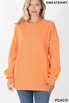 Front image of Peach Round Crew Neck Sweatshirt with Side Pockets