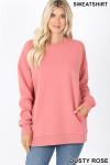 Front image of Dusty Rose Round Crew Neck Sweatshirt with Side Pockets