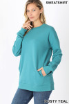 Slightly turned image of Dusty Teal Round Crew Neck Sweatshirt with Side Pockets