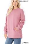 Slightly turned image of Light Rose Round Crew Neck Sweatshirt with Side Pockets