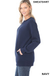 Left side image of Navy Round Crew Neck Sweatshirt with Side Pockets