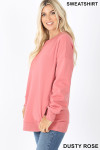 Left side image of Dusty Rose Round Crew Neck Sweatshirt with Side Pockets