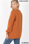Partial back image of Almond Round Crew Neck Sweatshirt with Side Pockets