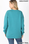 Back image of Dusty Teal Round Crew Neck Sweatshirt with Side Pockets