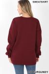 Back image of Dark Burgundy Round Crew Neck Sweatshirt with Side Pockets