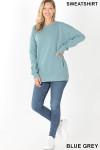 Full body image of Blue Grey Round Crew Neck Sweatshirt with Side Pockets