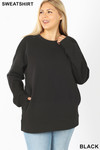 Front image of Black Cotton Round Crew Neck Plus Size Sweatshirt with Side Pockets
