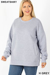 Front image of Heather Grey  Cotton Round Crew Neck Plus Size Sweatshirt with Side Pockets