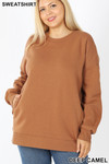 Front image of Deep Camel Cotton Round Crew Neck Plus Size Sweatshirt with Side Pockets