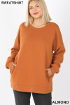 Front image of Almond Cotton Round Crew Neck Plus Size Sweatshirt with Side Pockets