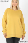 Front image of Light Mustard Cotton Round Crew Neck Plus Size Sweatshirt with Side Pockets